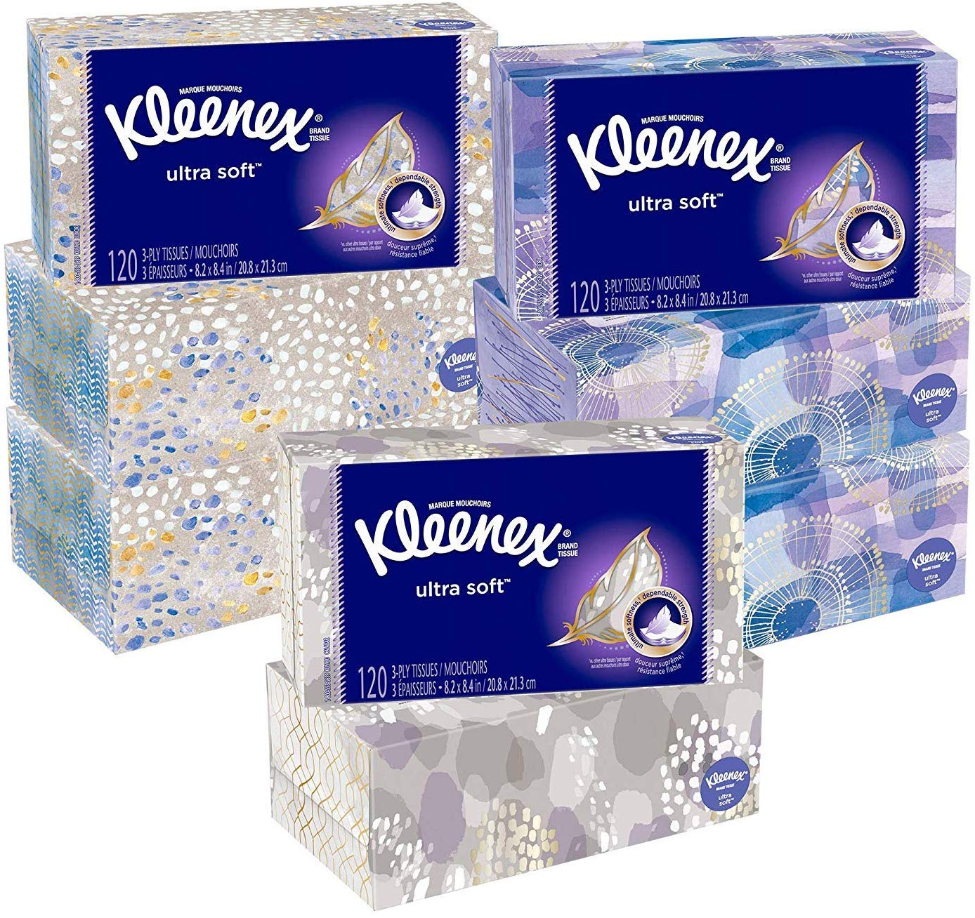 Kleenex Ultra Soft Facial Tissues, 8 Flat Boxes, 120 Tissues per Box (960 Tissues Total)