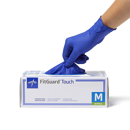 Medline FitGuard Touch Nitrile, Latex Free, Powder Free, Exam Gloves, Blue, Medium