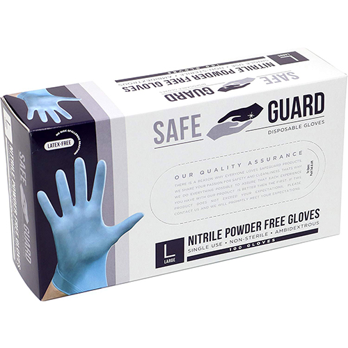 Safeguard Nitrile Disposable Gloves, Powder Free, Food Grade Gloves, Latex Free, 100 Pc. Dispenser Pack, X-Large Size, Blue
