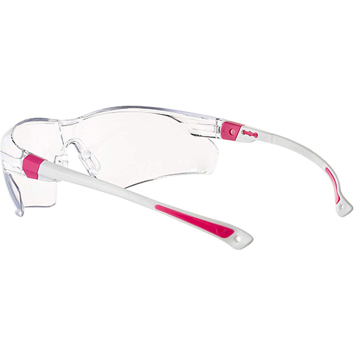 Safety Glasses with Clear Anti Fog Scratch Resistant Wrap-Around Lenses and No-Slip Grips, UV Protection. Adjustable, White & Pink Frames