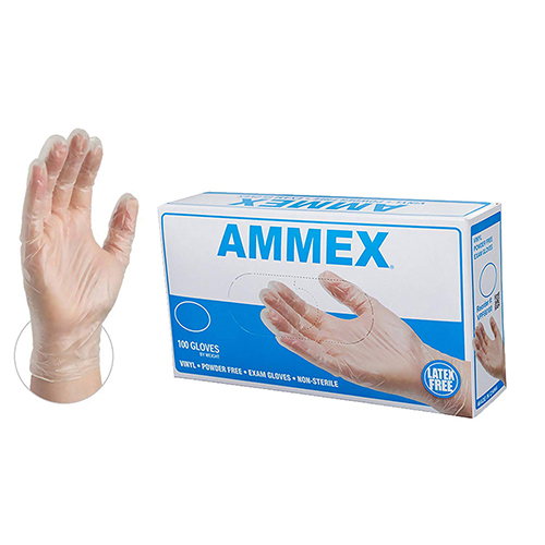 AMMEX Medical Clear Vinyl Gloves - 4 mil, Latex Free, Powder Free, Disposable, Non-Sterile, Large, VPF66100-BX, Box of 100